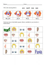 English Worksheets: Head parts