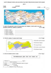 English Worksheet: revision test of regions compass and geographical features