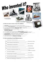 English Worksheet: Inventions and passive voice