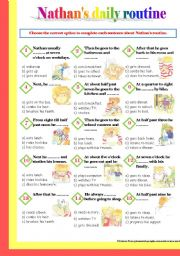 English Worksheets: Nathan�s Daily Routine