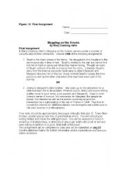 English Worksheets: Stepping on the Cracks Final Assignment