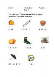 English Worksheets: scramble words