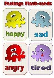 English Worksheet: FEELINGS FLAS-CARDS! - a set of 12 EDITABLE!!!!!! flash-cards for kids