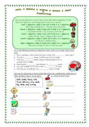 English Worksheet: look - sound - taste - smell - feel