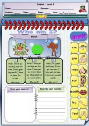 English Worksheet: My Monster