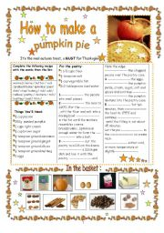 English Worksheets: How to make a pumpkin pie : a real autumn treat