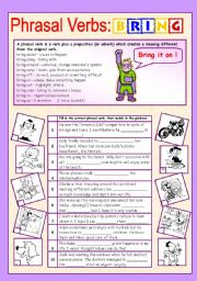 English Worksheet: Phrasal verbs (9/10): BRING