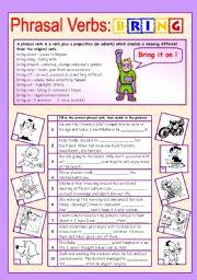 English Worksheets: Phrasal verbs (9/10): BRING