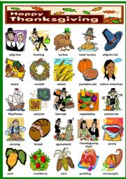 English Worksheet: THANKSGIVING PICTIONARY (B&W VERSION INCLUDED)