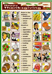 English Worksheets: THANKSGIVING - MATCHING EXERCISE (B&W VERSION INCLUDED)
