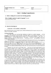 English Worksheet: English, a global language