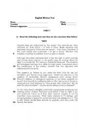 English Worksheet: test about mass media