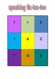 English Worksheets: speaking tic tac toe