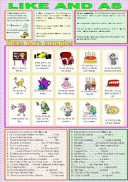 English Worksheets: LIKE ANS AS