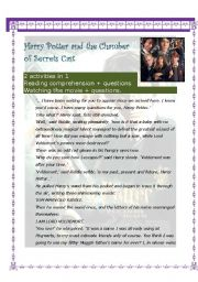 English Worksheets: Haary Potter and the Chamber of secrets (12 pages)