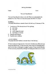 English Worksheet: Myths and the Loch Ness Monster