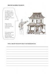 English Worksheets: My neighborhood