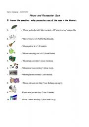 English Worksheet: Possessive case of Nouns