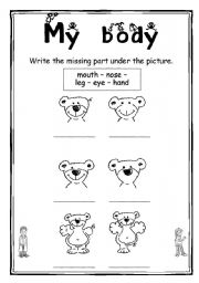 English Worksheets: My body 4