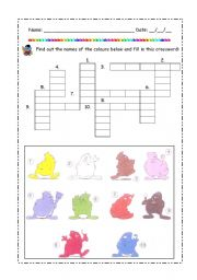 English Worksheet: Colors crossword