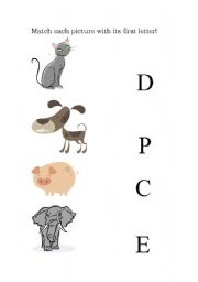 English Worksheets: Matching: animals with their first letters