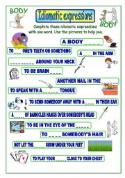 English Worksheet: Idiomatic expressions - BODY -