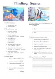 English Worksheet: Video Activity: Finding Nemo