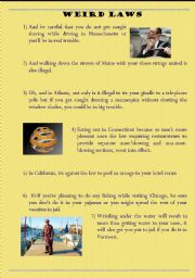 English Worksheet: Weird laws - Obligation and permission