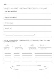 English Worksheets: Affirmation and questions
