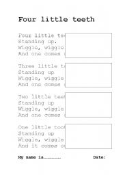 English Worksheets: Four little teeth song worksheet
