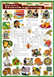 English Worksheet: THANKSGIVING -CROSSWORD (KEY AND B&W VERSION INCLUDED)