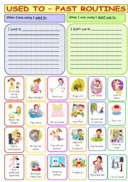 English Worksheet: Used to - Past routines