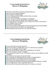 English Worksheet: conversation questions on money and shopping