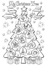 English Worksheet: My Christmas Tree