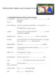 English Worksheet: Asking and showing the way