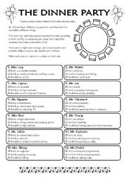 English Worksheet: The Dinner Party