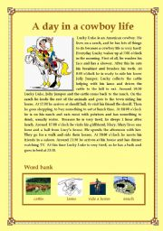 English Worksheets: A day in a cowboy life (daily routines)