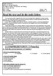 English Worksheets: A reading comprehension exam, language and writing