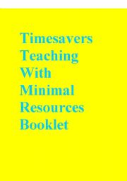 English Worksheets: Timesavers Teaching With Minimal Resources Booklet
