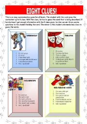 English Worksheet: Eight Clues (Game) (1 of 3)