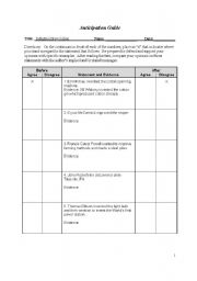 English Worksheets: Anticipation Guide- Industrialization
