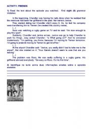 English Worksheet: Friends episode 4th season - The one with the rugby game