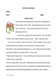 English Worksheets: Comprehension and Writing Worksheet - A Baby Sister
