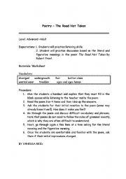 English Worksheet: The road not taken