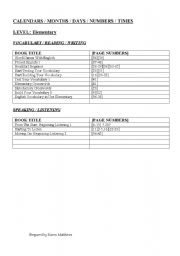 English Worksheets: calender and times