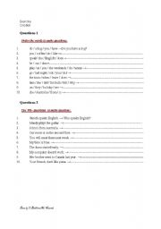 English Worksheets: exercise: how to make question