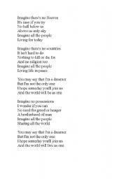 English Worksheet: Imagine Beatles song lyrics