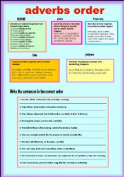 English Worksheet: Adverbs Order