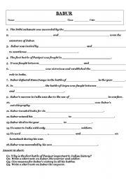 English Worksheets: worksheet on babur
