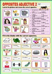 English Worksheets: Opposites Adjectives 2